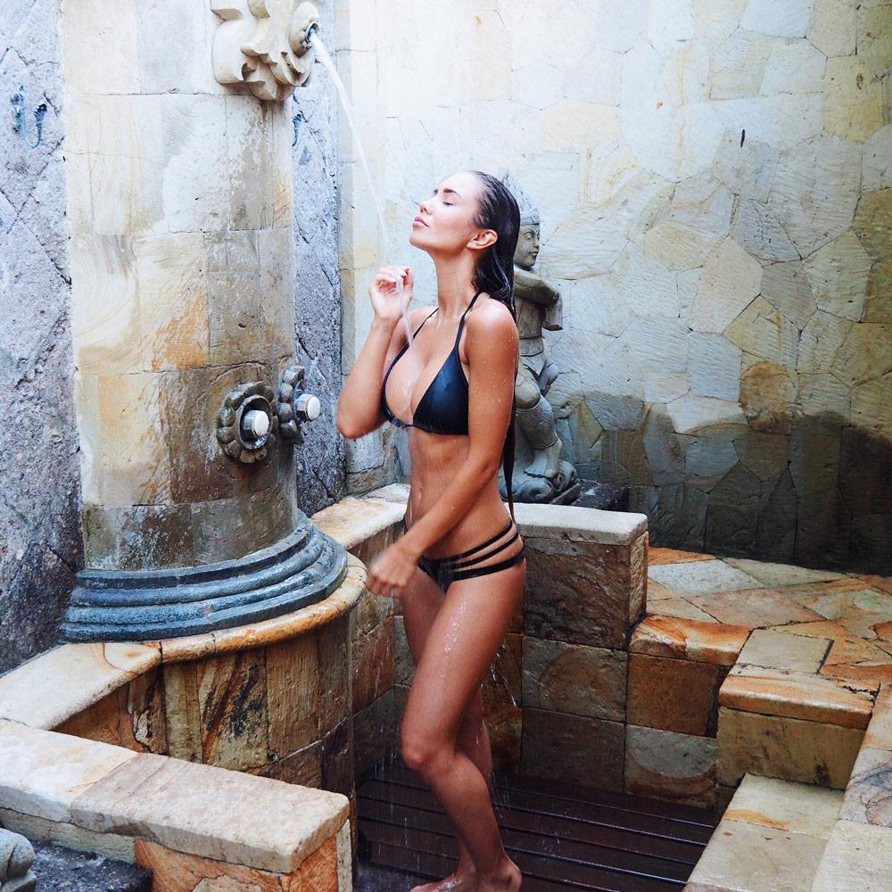 Outdoor showers in villa
